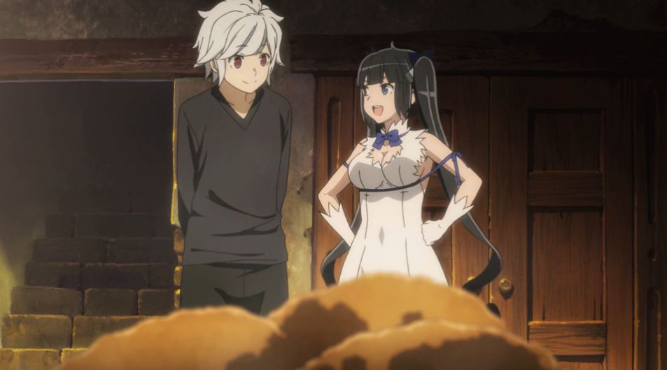 Hestia's blue ribbon in this new anime series is a slightly mind-blowing mystery.