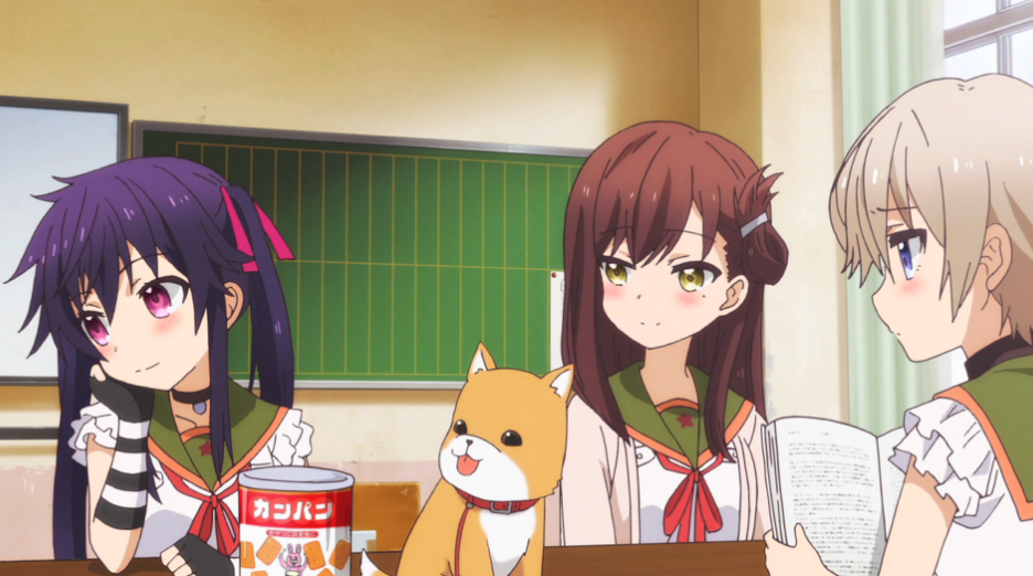 The girls in the new anime School-Live! enjoy breakfast together with the puppy