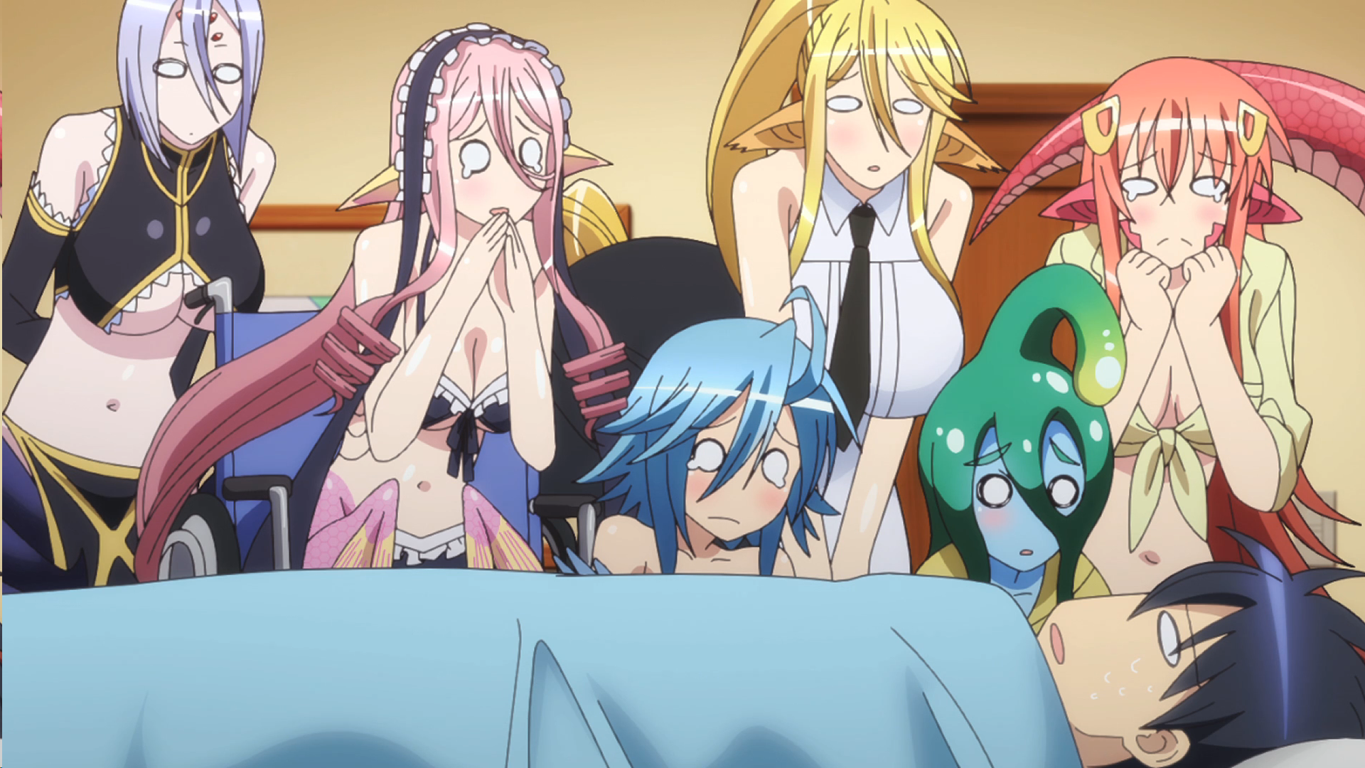 The girls of Monster Musume: Everyday Life with Monsters, take care of Kimihito while he's sick.