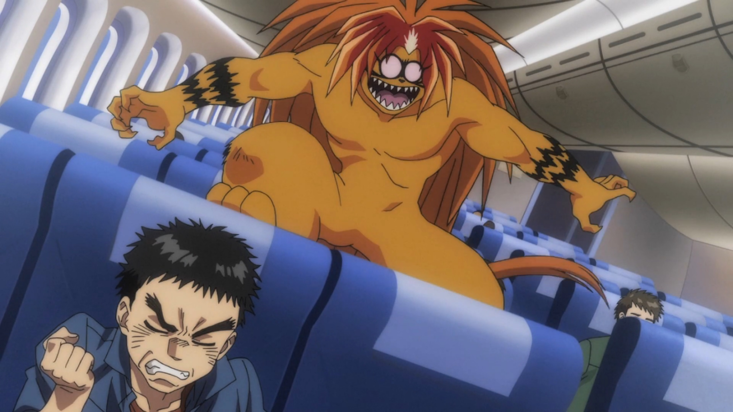 Tora gets excited to ride a plane in Ushio and Tora.
