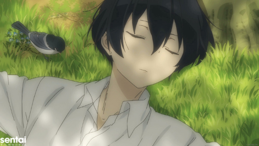 Tanaka sleeping on grass