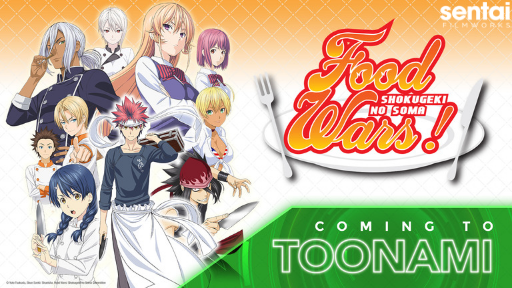 The cast of Food Wars! poses for a Toonami promo.