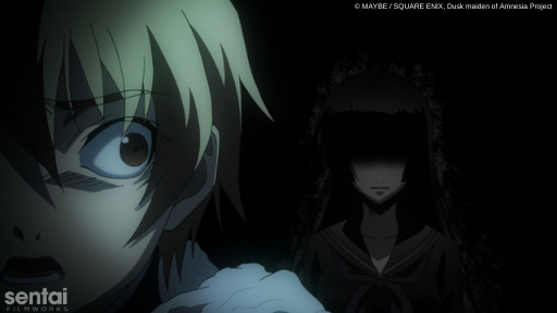 Teiichi from Dusk Maiden of Amnesia realizes in horror that Yuuko's ghost is lurking in the shadows behind him.