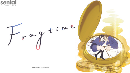 The two main characters look at each other while laying on a giant pocket watch.