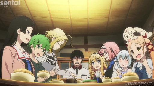 The main cast of Val x Love sit down at the table to eat.