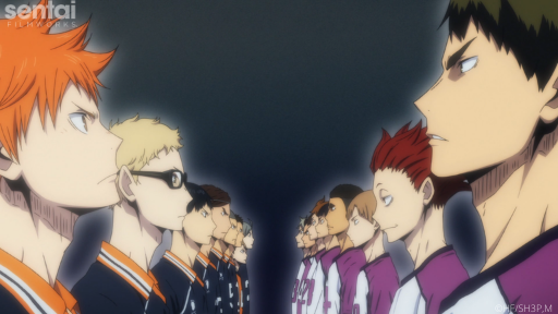 The Karasuno and Shiratorizawa volleyball teams face off against each other.