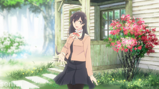 Touko beckons Yuu into the student council's room. Behind her sits a bush or short tree of red flowers.