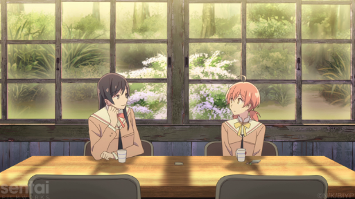 Touko gazes at Yuu as they sit in front of windows that overlook a blooming wisteria plant.