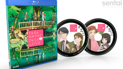 The Blu-ray packaging of Tada Never Falls in Love and its two discs.