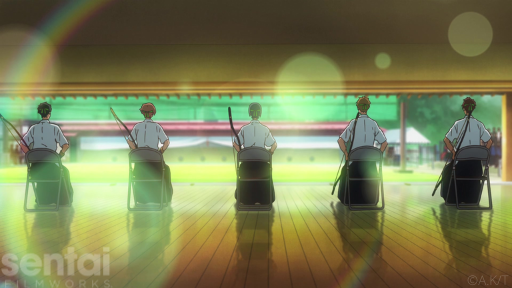The main characters of the Tsurune anime sit facing a row of archery targets, the setting sun casting rays of beautiful light around them.