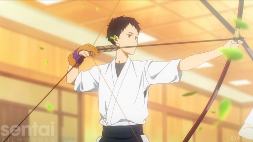 Minato from the Tsurune anime raises a bow, preparing to take a shot. Green leaves swirl around him.