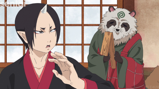 Hozuki from Hozuki's Coolheadedness looks over his shoulder at a smiling denizen of hell as he walks away from them..