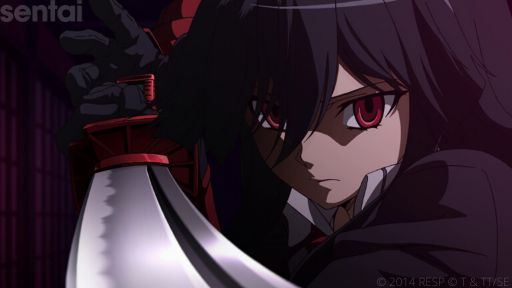 A close-up of Akame from Akame ga Kill! Akame wears an intense expression as she brandishes a sword at the viewer, her red eyes intense and hooded beneath her thick black bangs.