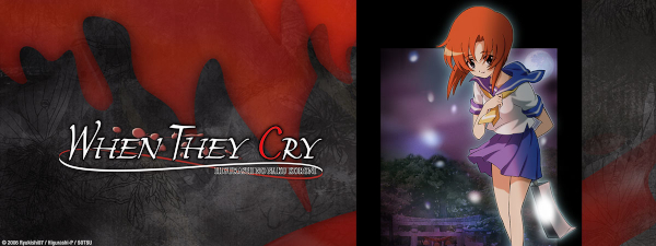 The When They Cry logo with Rena looking at the camera.