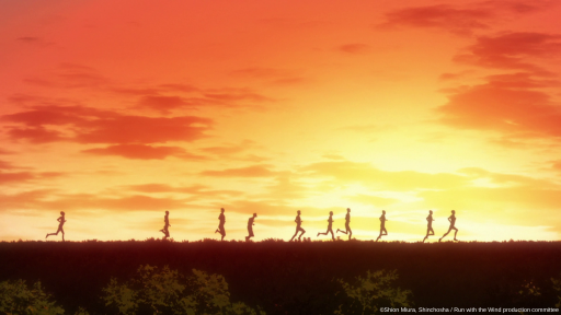 The silhouettes of the main characters from Run with the Wind run as the sunsets