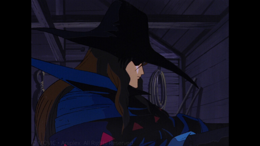 D (a charismatic vampire hunter with long brown hair, a blue cloak and a wide-brimmed black hat), stands in profile, eyes obscured by his hat.