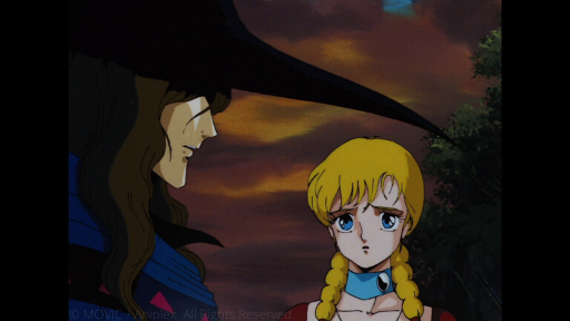 D stands in profile, his eyes shaded by the brim of his hat. Doris, a girl with blue eyes and blonde braids, stares at D with a forlorn expression.