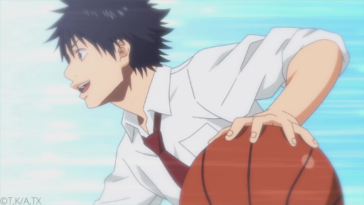 Pictured in profile against a bright blue backdrop, Sora runs while dribbling a basketball and smiling.