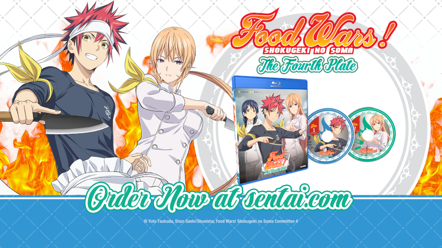 """A picture of Soma, Erina and the Blu-ray for Food Wars!: The Fourth Plate. The text says, """"Food Wars! Shokugeki no Soma The Fourth Plate"""" and """"Order now at sentai.com"""""""