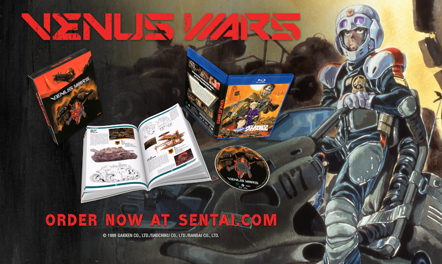 """A picture of and armored character and the Venus Wars Blu-ray. The text says, """"Venus Wars,"""" and """"Order now at Sentai.com"""""""