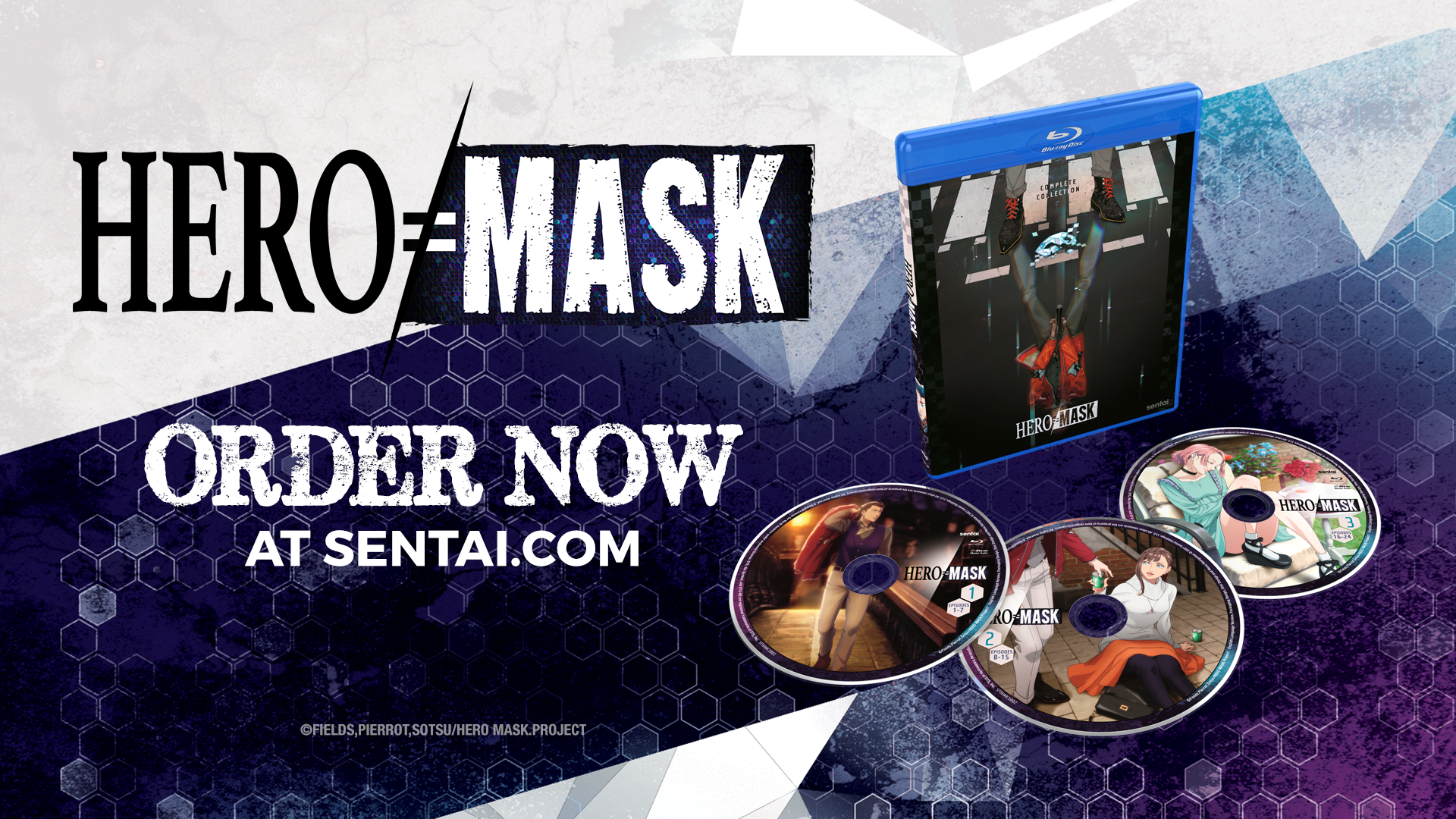 """The Hero Mask Blu-ray packaging along with three discs. The text says, """"Hero Mask"""" and """"Order now at sentai.com"""""""