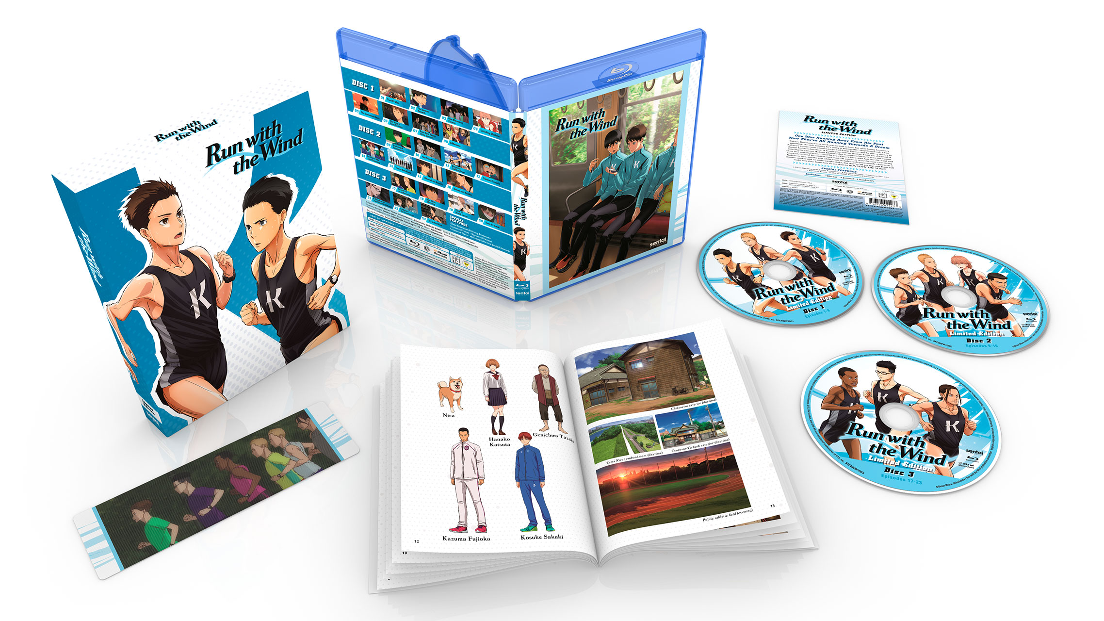 A picture of the Run With The Wind premium box set along with the Blu-ray, a booklet and linticular bookmark.